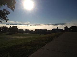 Sunrise over mist
